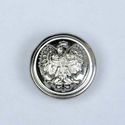 Polski guzik wojskowy z orzełkiem srebrny śr. 16 mm
