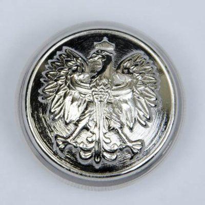 Polski guzik wojskowy z orzełkiem srebrny śr. 25 mm