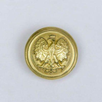 Polski guzik wojskowy z orzełkiem złoty śr. 16 mm