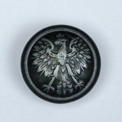 Polski guzik wojskowy wzór 1928 z orzełkiem czarny śr. 22 mm