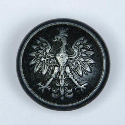 Polski guzik wojskowy wzór 1928 z orzełkiem czarny śr. 25 mm