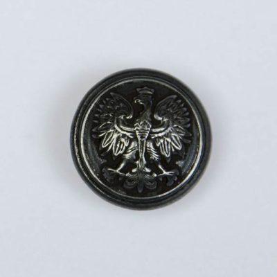 Polski guzik wojskowy z orzełkiem czarny śr. 16 mm