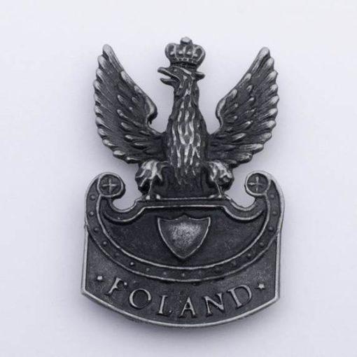 Polski Orzełek Legionowy wz. 1919 napis Poland, na magnes stare srebro