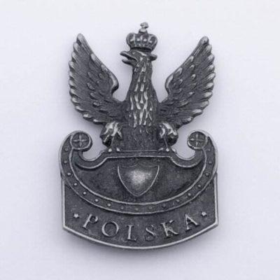 Polski Orzełek Legionowy wz. 1919 napis Polska, na magnes, stare srebro