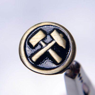 Rozetka - stopień górniczy do munduru śr. 12 mm, miedź