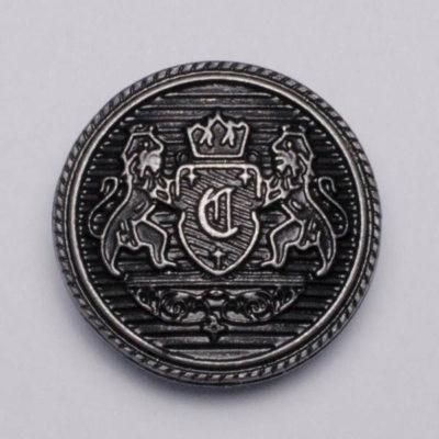 Guzik z herbem kolor stare srebro śr. 25 mm