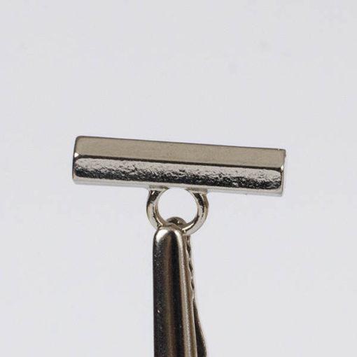 Guzik/ belka ozdobna z uszkiem kolor srebro dł. 19 mm