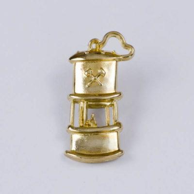 Przypinka lampka górnicza na pin, kolor złoty