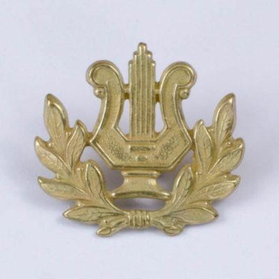 Przypinka muzyczna do munduru lub stroju ludowego, jasne złoto, pin