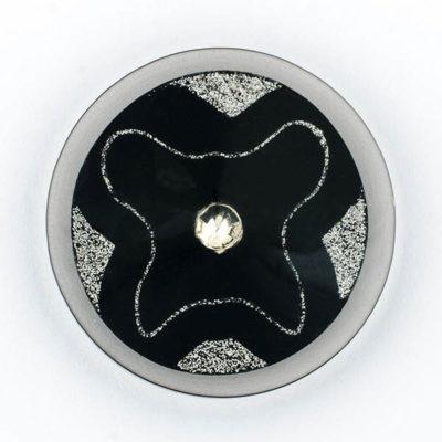 Guzik ozdobny akrylowy czarno-srebrny z kamieniem ozdobnym śr. 44 mm