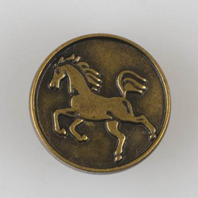 Guzik z sylwetką konia kolor brąz śr. 20 mm