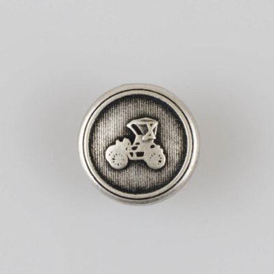 Guzik retro z autkiem srebrno-czarny śr. 15 mm