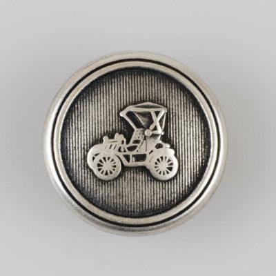 Guzik retro z autkiem srebrno-czarny śr. 23 mm