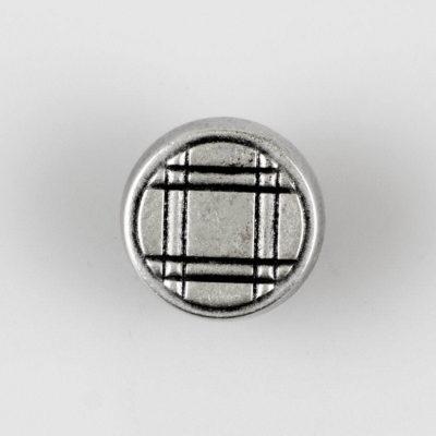 Guzik z ozdobną kratką srebrno - czarny śr. 18 mm
