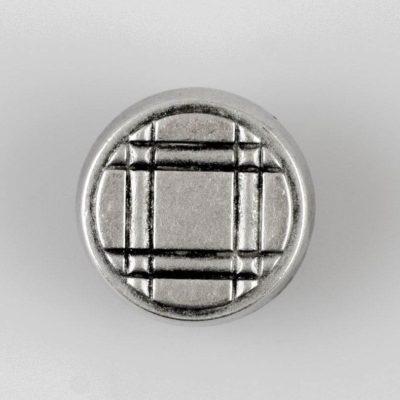Guzik z ozdobną kratką srebrno - czarny śr. 22 mm