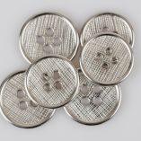 Guzik płaski z 4 dziurkami do przyszycia srebrny śr. 34 i 38 mm