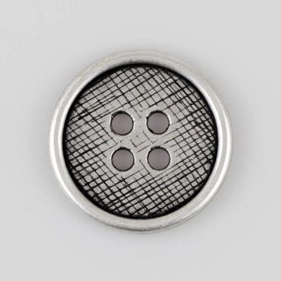 Guzik płaski z 4 dziurkami do przyszycia srebrno - czarny śr. 34 mm