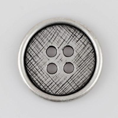 Guzik płaski z 4 dziurkami do przyszycia srebrno - czarny śr. 38 mm