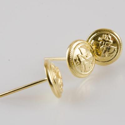 Marynarski guzik wojskowy złoty śr. 16 mm na wąsy