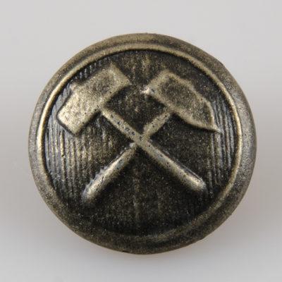 Przypinka górnicza śr. 21 mm na pin, kolor stary mosiądz