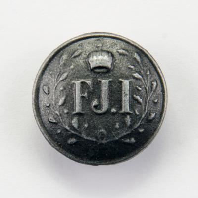Austro-węgierski guzik Franciszek Józef I śr. 21 mm, stare srebro