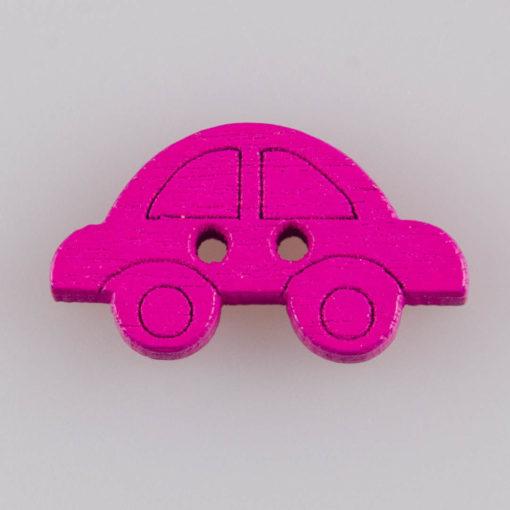 Guzik drewniany autko 2 dziurki 7 kolorów MIX