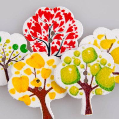 Guzik drewniany Drzewko, 2 dziurki, różne kolory MIX