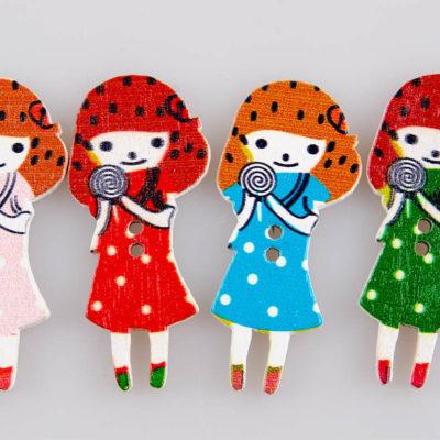 Guzik drewniany Dziewczynka, 2 dziurki, 5 kolorów MIX