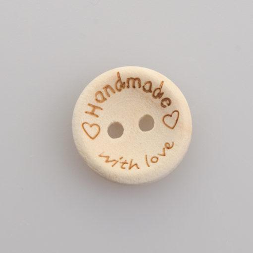 Guzik drewniany 2 dziurki Handmade with love 15 mm