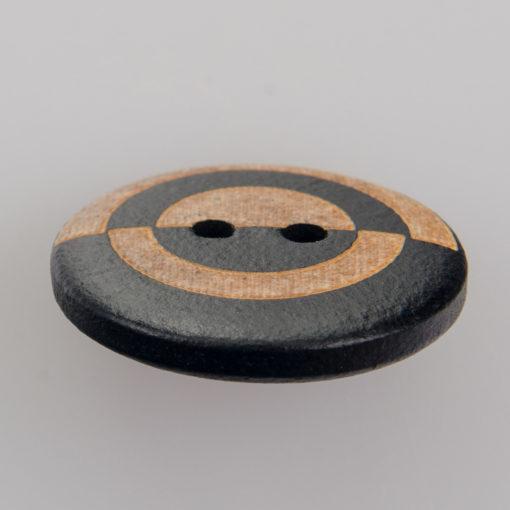 Guzik drewniany Mozaika 2 dziurki czarny / beż