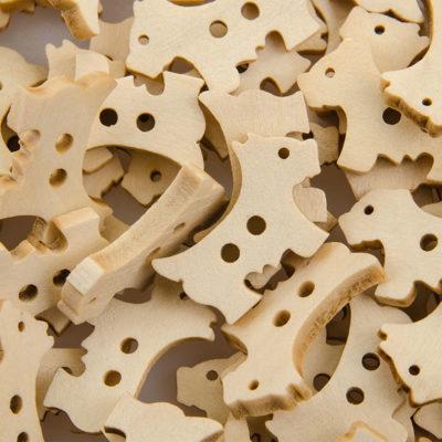 Guzik drewniany Piesek 2 dziurki DIY