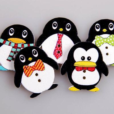 Guzik drewniany pingwin 2 dziurki 6 wzorów MIX