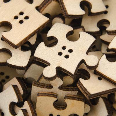 Guzik drewniany Puzzle 4 dziurki DIY MIX