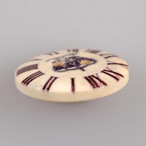 Guzik drewniany Zegar 2 dziurki 7 wzorów MIX