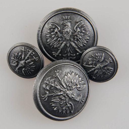Policyjny guzik współczesny z orłem kolor stare srebro śr. 15 i 25 mm