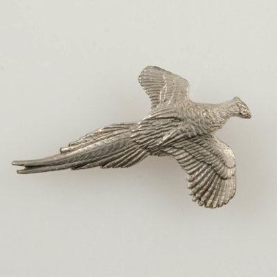 Bażant znaczek myśliwski na pin/ szpilkę kolor srebrny
