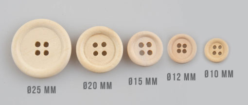 Guzik drewniany z obrzeżem, 2 dziurki, DIY