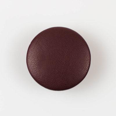 Guzik ciemno brązowy obciągany skórą cielęcą 38 mm
