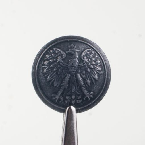 Policyjny guzik współczesny z orłem kolor stare srebro śr. 22 mm