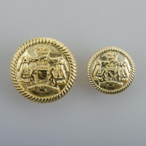 Guzik z herbem i ozdobną obwódką kolor złoty śr. 16 i 22 mm
