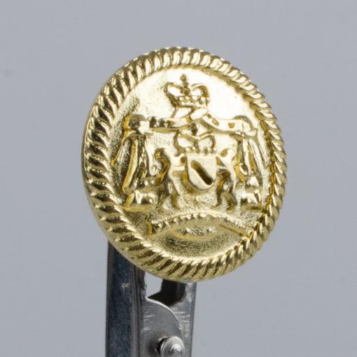 Guzik z herbem i ozdobną obwódką kolor złoty śr. 22 mm