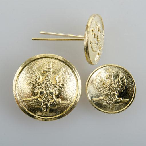Kolejowy polski guzik współczesny złoty śr. 22 i 16 mm