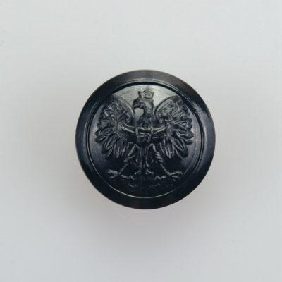Państwowa Straż Pożarna guzik współczesny z orłem kolor czarny śr. 16 mm (żywica)