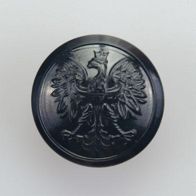 Państwowa Straż Pożarna guzik współczesny z orłem kolor czarny śr. 22 mm (żywica)