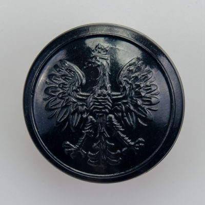 Państwowa Straż Pożarna guzik współczesny z orłem kolor czarny śr. 25 mm (żywica)