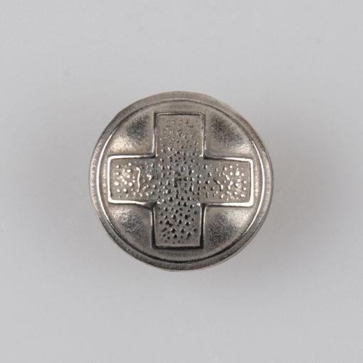 Guzik Polskiego Czerwonego Krzyża (PCK), II RP 1938r. kolor srebrny śr. 15 mm