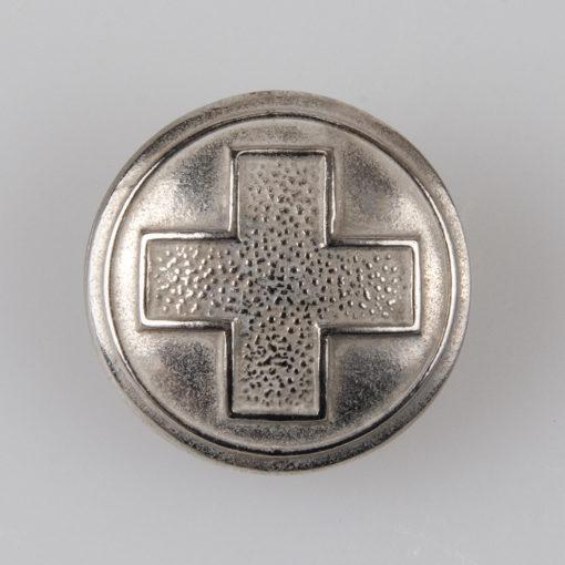 Guzik Polskiego Czerwonego Krzyża (PCK), II RP 1938r. kolor srebrny śr. 21 mm