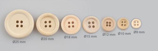 Guzik drewniany z obrzeżem 2 mm, 4 dziurki