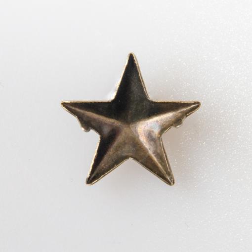 Gwiazdka oficerska do munduru, stopień wojskowy, średnica 15 mm na zaczepy do zagięcia, kolor stare złoto.
