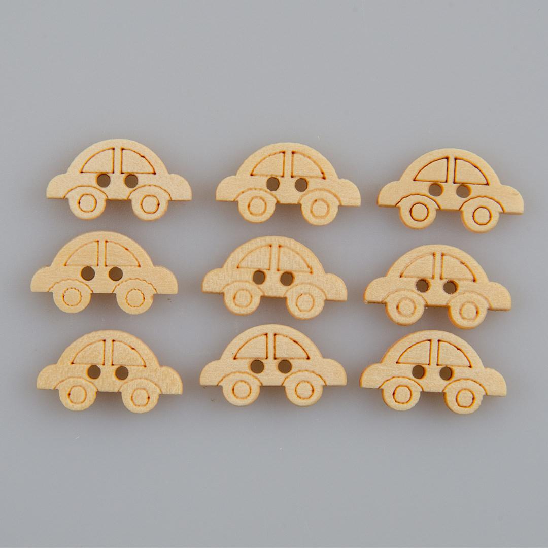 Guzik drewniany Autko 2 dziurki DYI